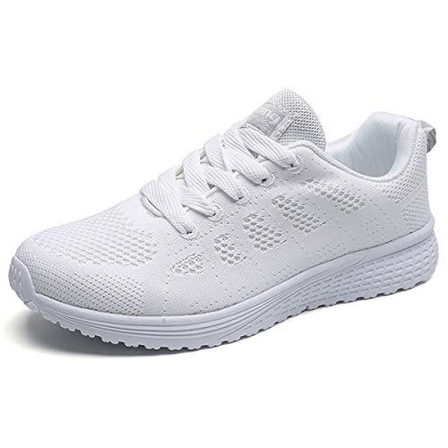 JIANKE Turnschuhe Damen Herren Leichte Laufschuhe Freizeitschuhe Atmungsaktive Sportschuhe Sneakers Weiß 37 EU(Etikettengröße 37)
