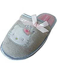 HELLO KITTY CHAUSSON FILLE GRIS ET ROSE NOEUD SATIN ROSE
