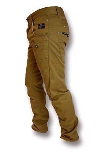 Hommes Crosshatch Kractus Jeans Coupe Slim Multi Poche Tordu Cinche Jeans Chiné Brun Clair