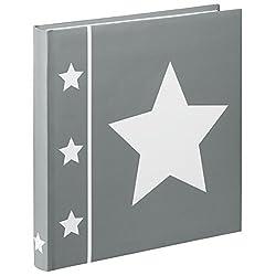 Hama Fotoalbum Skies, Jumbo Album mit 60 Seiten, für 240 Fotos im Format 10x15, Stern Motiv, 30x30, XL Fotobuch grau