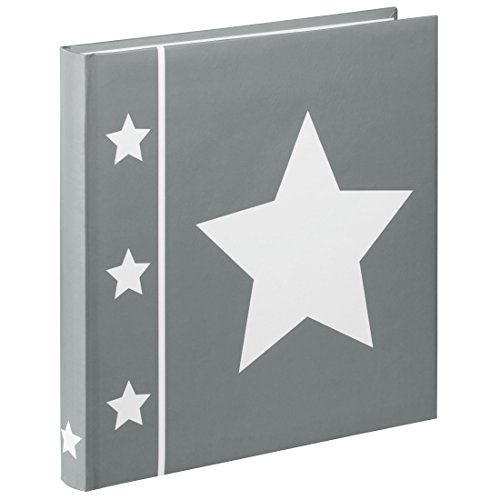 Hama Fotoalbum Skies (Jumbo Album mit 60 Seiten, Für 240 Fotos im Format 10x15, Stern Motiv, 30 x 30, XL Fotobuch) grau