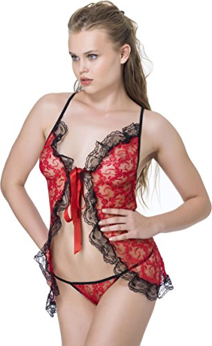 stylenmore - Chemise de nuit - Ajourée - Uni - Femme Rouge - Rouge