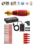 Wiha elektrischer Schraubendreher speedE Set 3 (41913), 25 tlg., mit Akku + L-Boxx + Bits + Batterien Ladegerät EU Drehmoment Adapter, Innensechskant/ Schlitz/ PH/PZ/TORX®/Pozidriv PlusMinus (SL/PZ)