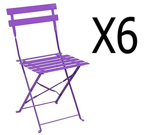 PEGANE Lot de 6 chaises pliantes en acier coloris violet - Dim: 42 x 47 x 81 cm