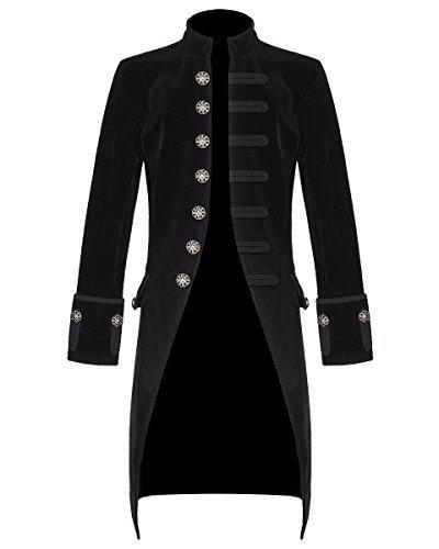 Star Leather Neu Herren Steampunk Vintage Frack Jacke Velvet Gothik Viktorianisch Frack (Weihnachtsgeschenk) - Schwarz, X-Large (Star Leather)
