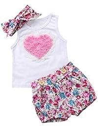 Ropa Bebe Niña Recien Nacido Verano 0 a 3 6 12 18 24 Meses - 3PC/Conjunto - Rosa Forma de Corazon Camiseta sin…