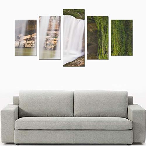 Leinwanddruck-Sets Wandkunst Bild 5 Stück Gemälde Poster Drucke Foto Bild Auf Leinwand Fertig Zum Aufhängen Für Wohnzimmer Schlafzimmer Home Office Wanddekor (kein Rahmen) Spektakuläre Klippen Und Wa