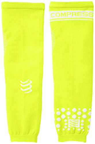 Compressport Arm Force - Calentadores de brazos de running para hombre, color amarillo fluor, talla L