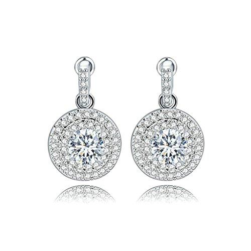 AieniD Pendientes Mujer de Plata 4 Garras Blanca Redonda Diamante de Imitación Redondo Canal Colgando Regalos de Navidad
