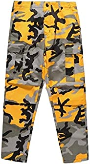 HTOOHTOOH Men Harem Cargo Camo Print Comfort Loose Slim Dress Pants