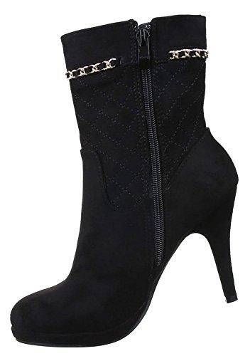 Damen Stiefeletten Schuhe High Heels Boots Kette Schwarz 36 37 38 39 40 41 Schwarz