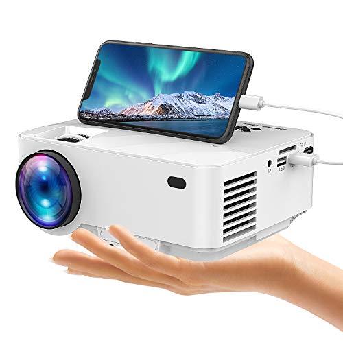 USB Mini Beamer von DBPOWER, Verbindet mit Smartphones und Tablets über USB-Kabel, Heimkino-Projektor, 1080 P / HDMI / VGA / USB / TV Box / Laptop / DVD / Externe Lautsprecher unterstützt