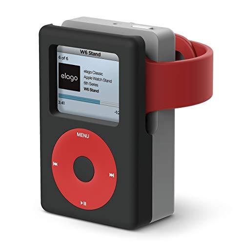 elago W6 Ständer Stand Kompatibel mit Apple Watch Serien 4/3/2/1 (44,42,40,38mm) - [Vintage Medea Player Design] [Unterstützt Nightstand Modus] [Kabelmanagement] - Schwarz Apple-ipod-serie