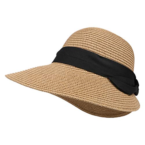 Panamahüte Unisex Straw Beach Sun Sommerhut für Damen Mädchen Outdoor Fashion Solid Color(Kaffee,Free)