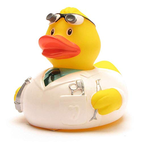 Badeente Zahnarzt I Quietscheentchen I Duckshop I L: 8 cm I inkl. Badeenten-Schlüsselanhänger im Set