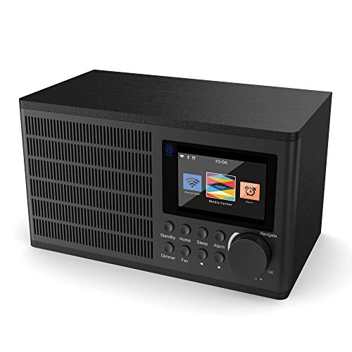 Peterhouse Internet Radio Network Digitale WiFi, UPnP, USB Input/Carica, AUX-In, Doppia Sveglia, Snooze e timer (Nero)