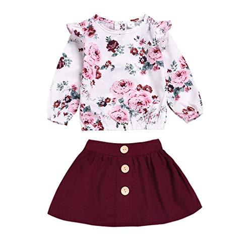 bobo4818 Kleinkind Mädchen Blumendruck Tops T-Shirt + Rock Outfits Set für 6M-4 Jahre (3-4 Years, White)