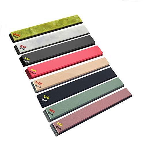 DKEyinx 8Pcs / Set Schleifstein, 240-10000 Körnung, mit klebrigem Spitzer, für Küchenmesser, Präzisionswerkzeug, Sushi-Messer, Obstmesser