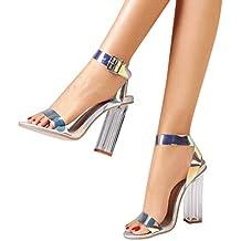 UOMOGO Donna Alto Tacco Partito Quasi lì Fibbia con Cinturino Sandali Scarpe  Numero Eleganti Estivi Cerimonia 7e704407469