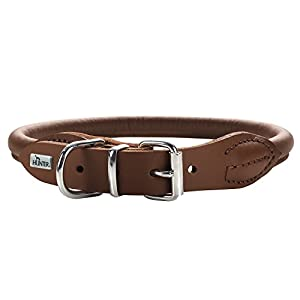 HUNTER Round and Soft Nickel-Plated Collar, 45/8, 38 x 42 cm, Medium, Nappa Brown