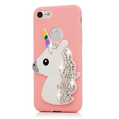 MAXFE.CO Schutzhülle Tasche Case für iPhone 7/iPhone 8 TPU Silikon Cover Einhorn mit Diamanten Etui Protective Schale Bumper Gelb + Purple Pink + Blau