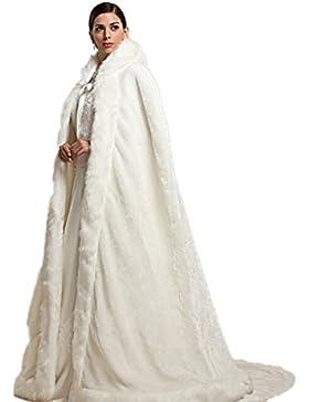 rmdress marfil cálido invierno pelo largo novia abrigo Bolero Estola Capa novia bufanda estola para vestido de...