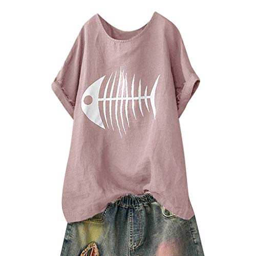 0a4a3e536f Topassion Women's Top Fish Bone Print Casual Solid Blouse Loose Short  Sleeve Shirt Funny Tops Summer