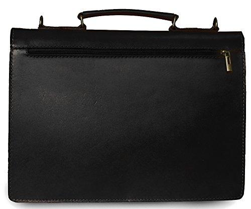 Leder Arbeitstasche Lehrertasche Schultasche Aktentasche Businesstasche Bürotasche Dokumententasche Notebooktasche DIN A4 Made in Italy 38x27x8 cm (Marrone) Nero