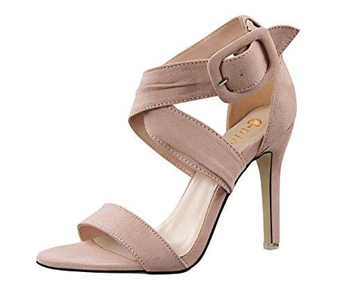 Wealsex Damen Sandalen Sommer Stiletto high heel Pink