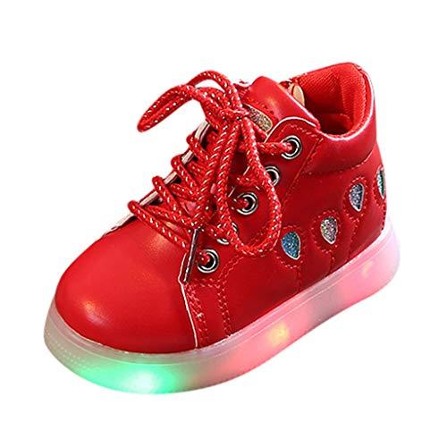 HDUFGJ LED Schuhe Kinder Beleuchtete Freizeitschuhe Mädchen Kinder Schuhe Nette Baby Mädchen Stiefel Leichtgewicht Laufschuhe Faule Schuhe Turnschuhe fitnessschuhe26.5 EU(rot)