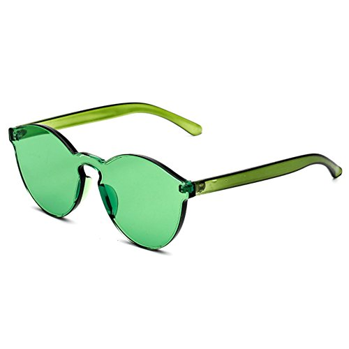 hibote Unisex Cat Eye Shades Lunettes de soleiles Integrated Lunettes Candy Color UV400 Vert