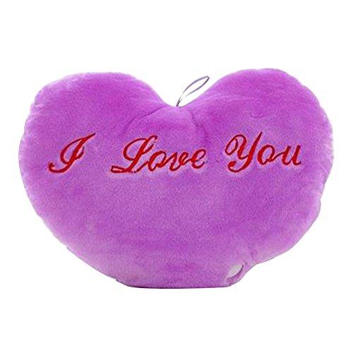 display08Cute Love Herz LED Flash Light Plüsch Kissen Spielzeug Romantisches Geschenk, baumwolle, violett, 14.17