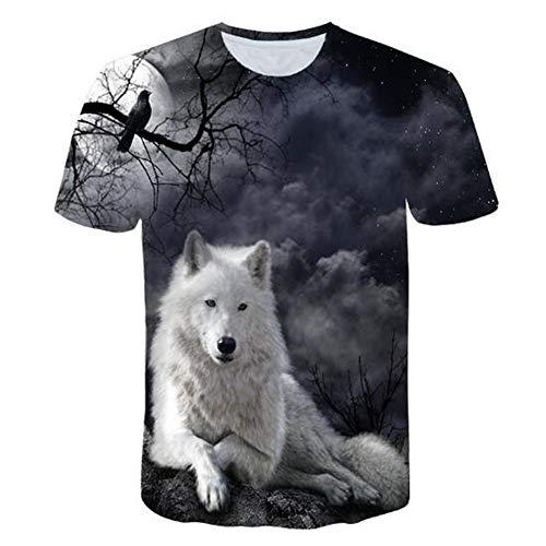 Männer Frühling Sommer Männer T-Shirts 3D Gedruckt Tier t-Shirt Kurzarm Lustige Design Casual Tops Tees Männlich,3D Gedruckter Wolf - EIN schwarzer 4XL - Freud Türen
