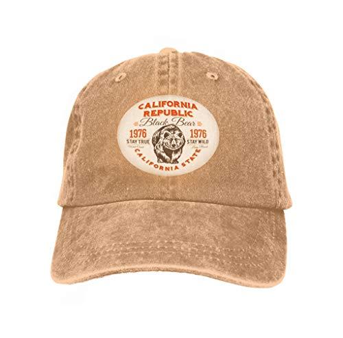 Baseball Caps Trucker Caps Bones Hip Hop Hats for Men Women California Republic Vintage Typography Grizzly Bear Print gr Sand Color