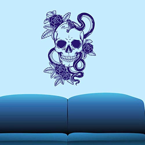 ljjljj Schädel Halloween Schlange Wandaufkleber Punk Decal Art Wall Decals Decor Wandbild 58x80cm