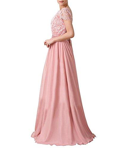 Vickyben Damen Vintage Retro Gap Aermel Spitzen Chiffon Abendkleider Ballkleid Brautjungfernkleid Cocktailkleid Navy Blau