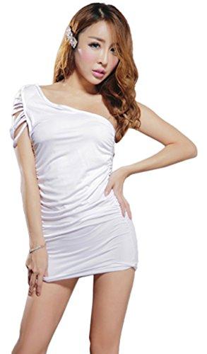 Smile YKK Femme Fashion Sous-vêtement Lingerie Erotique Nuisette Badydoll Blanc