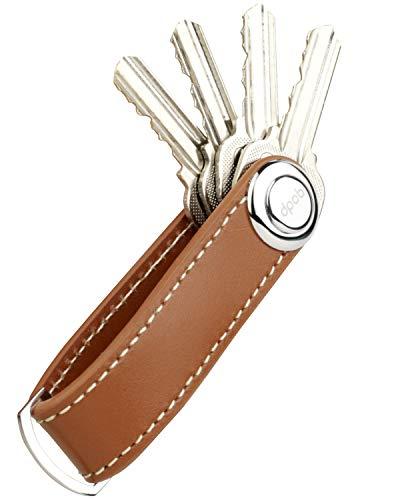Llavero, Organizador de Llavero Compacto de Cuero DPOB - Llavero de diseño Inteligente y práctico - Hecho de Cuero de Primera Calidad Duradero (Brown)