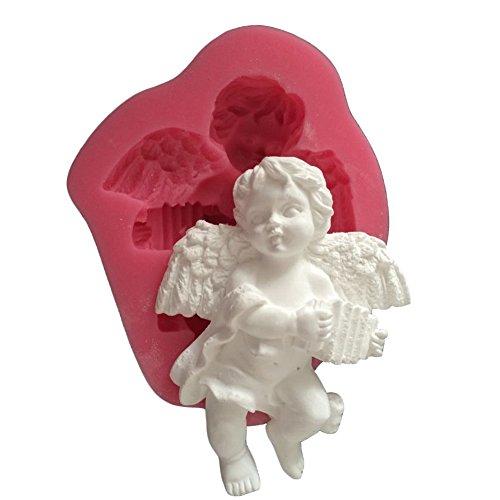Karen Baking Netter Engel Junge Mit elektronische Orgel Form 3D Silikon-Fondant-Kuchen-Form Rose