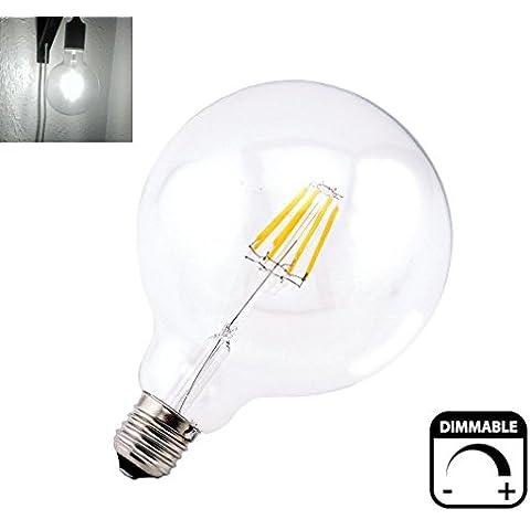 Bonlux Lampada a incandescenza Globe 4W G125 E27 LED dimmerabili bianco freddo 6000K Edison Screw ES 125 millimetri LED Cancella filamento della lampadina da 40 Watt a incandescenza sostituzione [Classe energetica A ++]