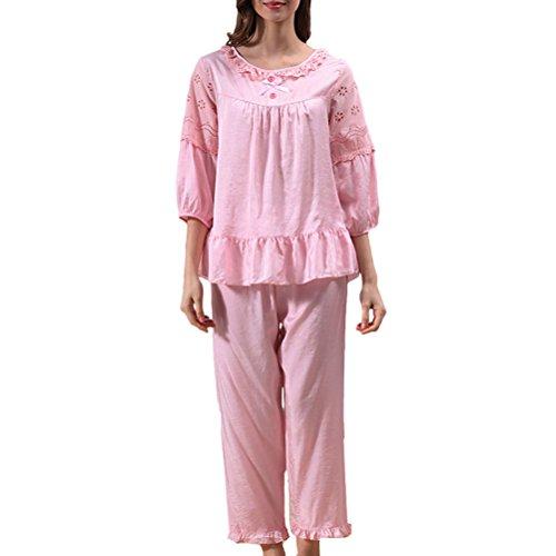 Zhhlaixing 2 Piece Womens Summer Princess Sleeves Pyjamas Fashion Nightwear Set pink