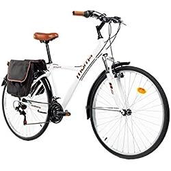 "Moma Bikes Bicicleta Trekking/Paseo HYBRID 28"", Alu, SHIMANO 18V, Susp. Delant."