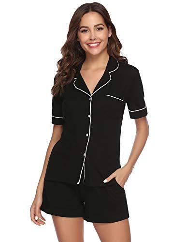 Aibrou Pijama Mujer Verano Corto Algodon