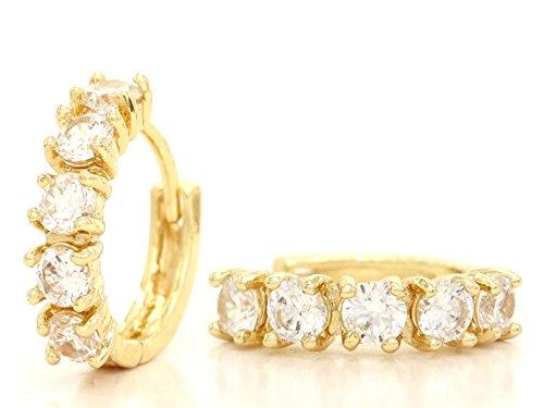 Genuine oro giallo 18 carati placcato orecchini a cerchio realizzati a mano con chiara gemma bianca con scatola nera gioielli