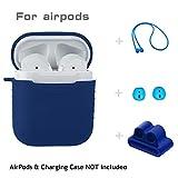 Altsommer für Apple AirPods Kopfhörer,5 in 1 Silikon Kopfhörer Stoßfest Kopfhörer-Box Schutzhülle mit Silikonhülle +Lanyard +Kopfhörerabdeckung+Armbandset KopfhörerBox Schutzhülle (Blau)
