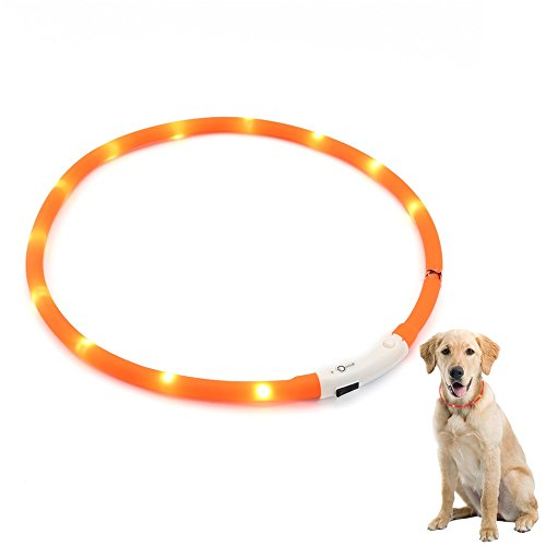 ZOGIN LED Pet Dog Collar, USB Rechargeable LED Dog Safety Flashing Light Collar-Pink
