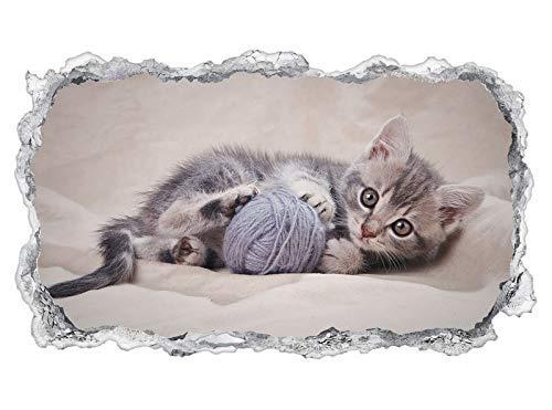 3D Wandtattoo Baby Katze Tier Kätzchen klein Ball spielend Tapete Wand Aufkleber Wanddurchbruch sticker selbstklebend Wandbild Wandsticker Wohnzimmer 11P1075, Wandbild Größe F:ca. 140cmx82cm -