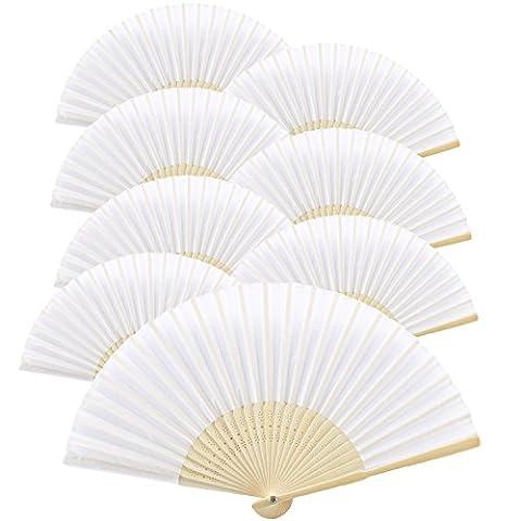 KAKOO 8er Weiß Seiden Fächer Bambus Handfächer Taschenfächer Stofffächer Faltbar Dekofächer mit Box Hochzeit Party Kirche Kinder Gastgeschenk