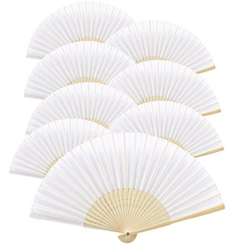Diy Männer Kostüm (KAKOO 8er Weiß Seiden Fächer Bambus Handfächer Taschenfächer Stofffächer Faltbar Dekofächer mit Box Hochzeit Party Kirche Kinder)