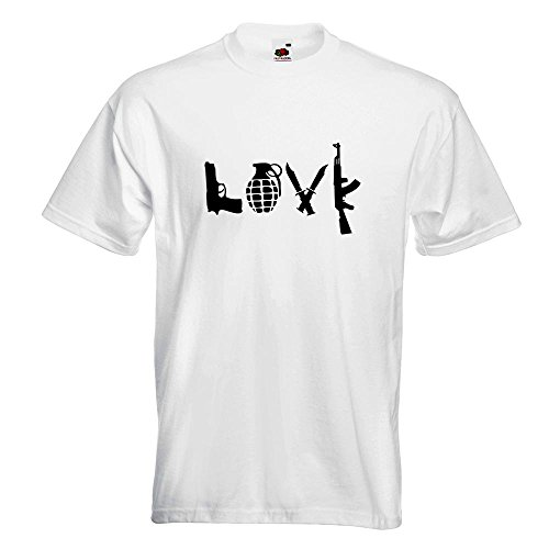 KIWISTAR - LOVE Waffen Guns T-Shirt in 15 verschiedenen Farben - Herren Funshirt bedruckt Design Sprüche Spruch Motive Oberteil Baumwolle Print Größe S M L XL XXL Weiß